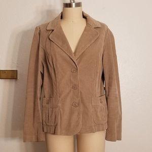 Tan Courderoy Blazer Style Jacket